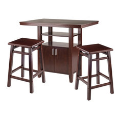 Winsome Albany 3 Piece Counter Height Dining Set With Square Stools In Walnut