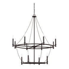 Lancaster 12-Light Chandelier, Black Iron