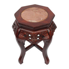Carved Floral Oriental Plant Stand With Marble Top, 24""