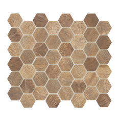 """12.75""""x11.25"""" Woodlandon Recycled Matte Glass Tile, Autumn Maple Brown"""
