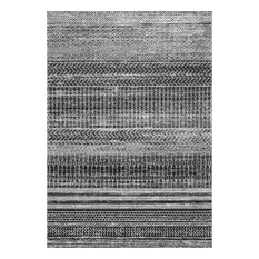Modern Area Rug, Dark Gray, 9'x12'