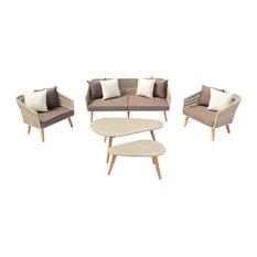 San Luis Aluminum Outdoor 5 pc Sofa Set with Cushions