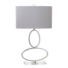 "28""  Metal Rings with Crystal Base Table Lamp, Brushed Nickel"