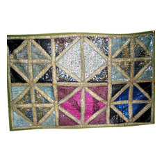 Mogul Interior - Bollywood Decor Tapestry, Vintage Sari Wall Hanging, Sequin Beaded Tapestry - Tapestries