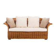 Safavieh Oahu Wicker 2 Seater Sofa Natural Cream Beige