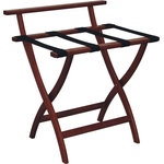 Wooden Mallet - Wall Saving Luggage Stand - Mahogany / Black - Use this Wall-Saving Folding Luggage Stand for guest suitcases, blanket storage - or even for serving trays. It's made of super-strong red oak from North American forests and comes in three finishes (with three choices of strap colors). This model features a back-bar that prevents luggage from sliding and banging against walls. The foldable design makes it easy to store when not in use and it has an impressive 100-pound weight capacity.
