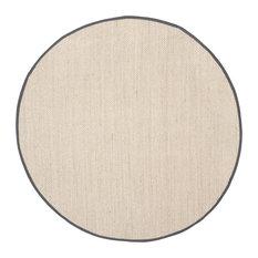Safavieh Natural Fiber Collection NF143 Rug, Marble/Dark Grey, 10' Round
