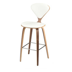 Satine Leather Stool Matte White Bar Height