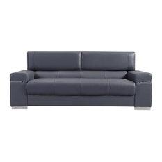J M Furniture Soho Gray Leather Sofa Sofas