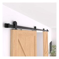 ZEKOO Top Mount Sliding Barn Door Hardware Kit for Double Door, 10'