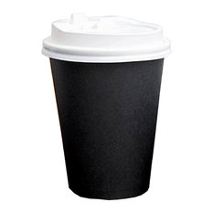 Blancho Bedding - Set of 50 Disposable Coffee Cups Paper Cups With Lids Hot Drink Cups Black - Disposable Cups