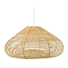 Palau Continuous Weave Discus Wicker Pendant Lamp, Natural