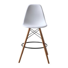 Molded Plastic Dowel, Leg Bar Chair, White