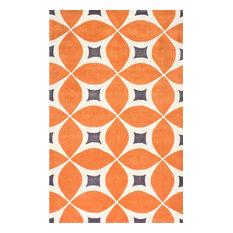 "Hand-Tufted Gabriela Area Rug, Deep Orange, 7'6""x9'6"""