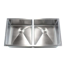 Stainless Steel Undermount Double Bowl Kitchen Sink, Brushed Steel, 37""