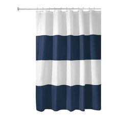 iDesign Zeno Shower Curtain, Navy/White