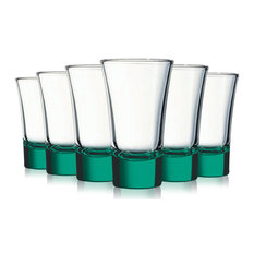 Emerald Green Evase Cordial Glasses with Beautiful Colored Accent, 2 oz Set of 6