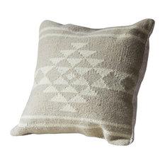Neutral Sahara Kilim Cushion Cover, 40x40 cm, White/Grey