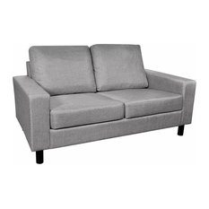 VidaXL 2 Seats Sofa Light Gray Couch Seats Living Room Seating Wooden Frame
