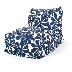 Majestic Home Goods - Navy Blue Plantation Bean Bag Chair Lounger - Outdoor Lounge Chairs