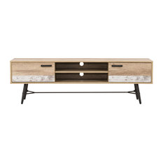 "CorLiving LFF-202-B Distressed Beige/White TV Bench With Splayed Legs, 80"" TV"