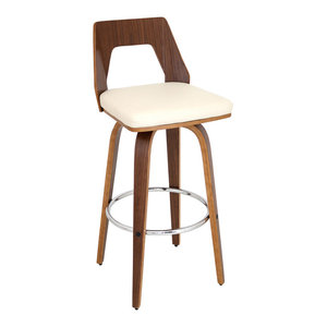 Trilogy Barstool in Walnut and Cream Faux Leather, Set of 2