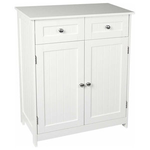 Traditional Floor Standing Storage Cabinet in White MDF With 2 Drawer and 2 Door