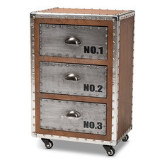 Avere French Industrial Brown Wood And Silver Metal 3-Drawer Rolling Nightstand