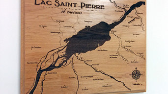 Laser-engraved wood map of Lake St-Pierre, Quebec, Canada
