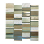 "12""x12"" Horizon Linear Mosaic Glass Tiles, Set of 10, Taupe"