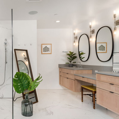 Transitional master gray tile, white tile and marble tile marble floor, multicolored floor and double-sink bathroom photo in Seattle with shaker cabinets, medium tone wood cabinets, white walls, an undermount sink, quartz countertops, gray countertops and a floating vanity