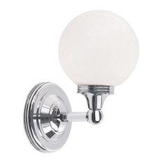 Austen Sphere Bathroom Wall Lantern, Polished Chrome