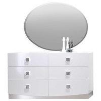 France White Modern Dresser and Mirror, 2-Piece Set