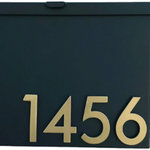 Urban Mettle - Modern Mailbox With Unique Rust Patina, Black, Four Brass Numbers - Welcome Home. Create instant curb appeal with this modern mailbox from Urban Mettle! It adds flair and style to the facade of your home with sleek aluminum address numbers.