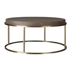 "Portobello Modern Shagreen Brass Round Coffee Table 42"""