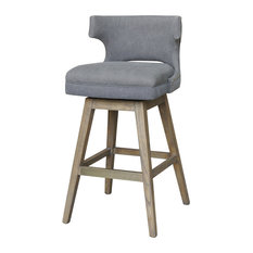 Liana Modern Upholstered Grey Canvas Wing Back Swivel Seat Counter Stool