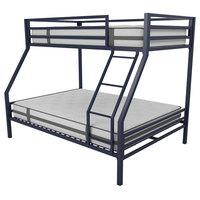 Novogratz Maxwell Twin-Over-Full Metal Bunk Bed With Ladder, Guardrails, Navy