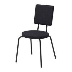 Option Black Steel Dining Chair With Felt Finish, Round Seat, Square Back