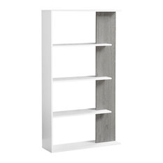 Offex 56-inchH White And Grey Reclaimed Look Contemporary Space Saving Bookcase