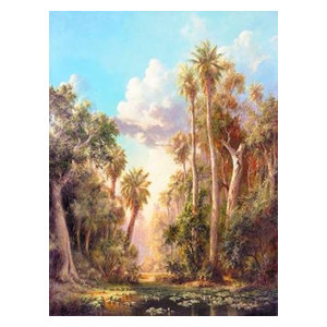 Birds on Lost River Art Fronckowiak Tropical Palm Tree Print Poster 18x24