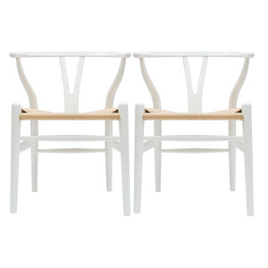 Modern Dining Chairs Wood Armchairs, Set of 2, White