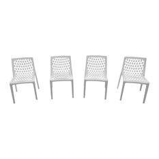 Milan Outdoor all season Resin Chairs, White, Set of 2
