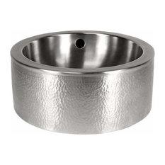 Copper Factory Solid Hammered Copper Round Vessel Sink Apron SatNickel