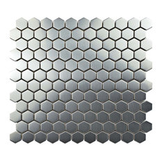 SomerTile Meta Stainless Steel Over Porcelain Mosaic Wall Tile, Hex