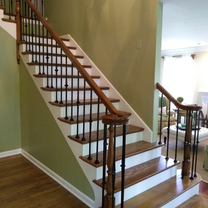 Staircase Remodel - Gel Stained wood and iron balusters