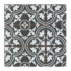 "SomerTile Harmonia Classic 13"" x 13"" Ceramic Floor and Wall Tile, Black"