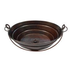 "16""x12"" Oval Copper Bucket Vessel Bathroom Sink With Handle Lift n Turn Drain"