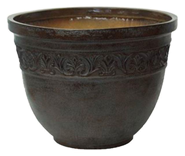 Antique garden pots embossed scroll set of 2 traditional antique garden pots embossed scroll set of 2 workwithnaturefo