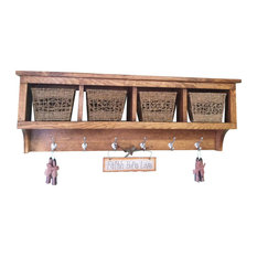 4 Cubby Wall Shelf/Coat Rack, Solid Pine
