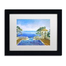 "David Lloyd Glover 'Cap Martin, Monaco' Art, Black Frame, 11""x14"", White Matte"